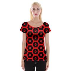 Red Bee Hive Texture Women s Cap Sleeve Top