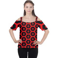 Red Bee Hive Texture Women s Cutout Shoulder Tee