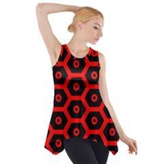 Red Bee Hive Texture Side Drop Tank Tunic