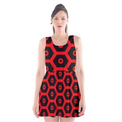 Red Bee Hive Texture Scoop Neck Skater Dress