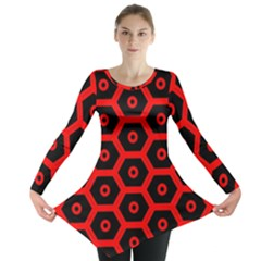 Red Bee Hive Texture Long Sleeve Tunic