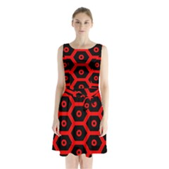 Red Bee Hive Texture Sleeveless Chiffon Waist Tie Dress
