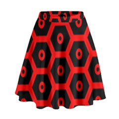 Red Bee Hive Texture High Waist Skirt