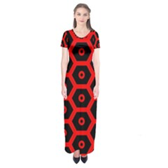 Red Bee Hive Texture Short Sleeve Maxi Dress