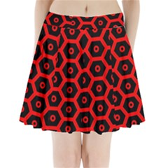 Red Bee Hive Texture Pleated Mini Skirt