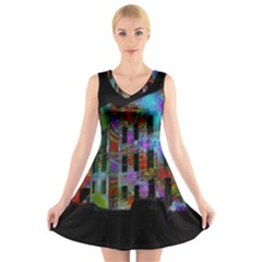 Science Center V-Neck Sleeveless Skater Dress