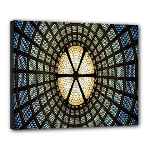 Stained Glass Colorful Glass Canvas 20  x 16