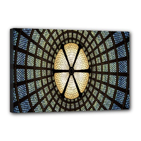 Stained Glass Colorful Glass Canvas 18  x 12