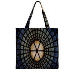 Stained Glass Colorful Glass Zipper Grocery Tote Bag