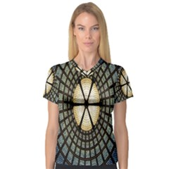 Stained Glass Colorful Glass Women s V Neck Sport Mesh Tee