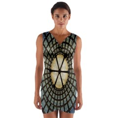 Stained Glass Colorful Glass Wrap Front Bodycon Dress