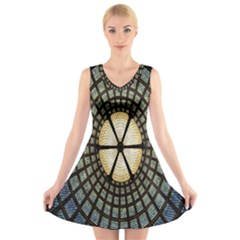 Stained Glass Colorful Glass V Neck Sleeveless Skater Dress