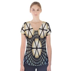 Stained Glass Colorful Glass Short Sleeve Front Detail Top