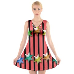 Star Christmas Greeting V Neck Sleeveless Skater Dress