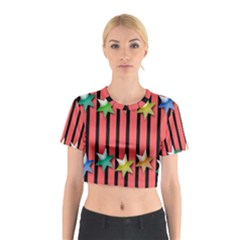Star Christmas Greeting Cotton Crop Top