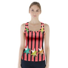 Star Christmas Greeting Racer Back Sports Top