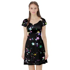 Star Ball About Pile Christmas Short Sleeve Skater Dress