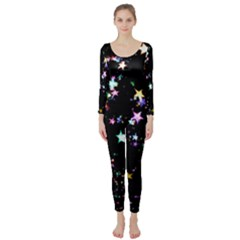 Star Ball About Pile Christmas Long Sleeve Catsuit