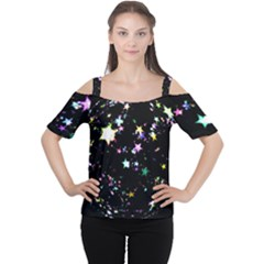Star Ball About Pile Christmas Women s Cutout Shoulder Tee