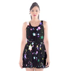 Star Ball About Pile Christmas Scoop Neck Skater Dress