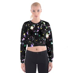 Star Ball About Pile Christmas Women s Cropped Sweatshirt