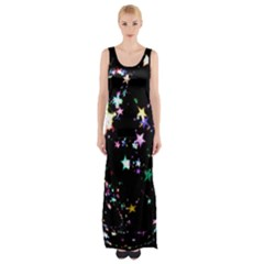 Star Ball About Pile Christmas Maxi Thigh Split Dress
