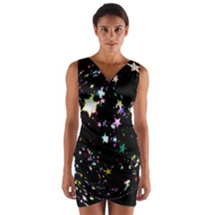 Star Ball About Pile Christmas Wrap Front Bodycon Dress