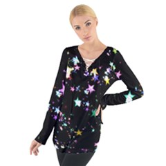 Star Ball About Pile Christmas Women s Tie Up Tee