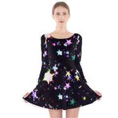 Star Ball About Pile Christmas Long Sleeve Velvet Skater Dress