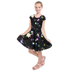 Star Ball About Pile Christmas Kids  Short Sleeve Dress