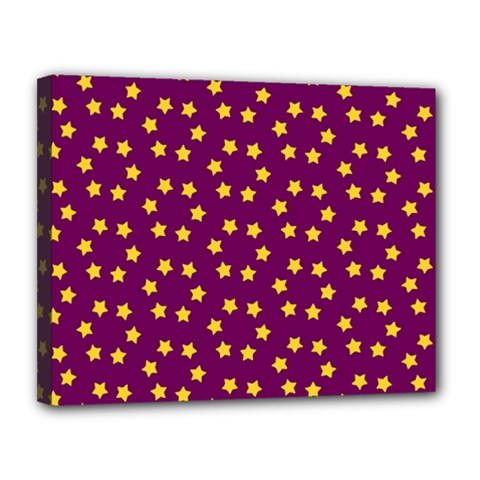 Star Christmas Red Yellow Canvas 14  x 11