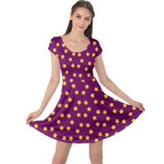 Star Christmas Red Yellow Cap Sleeve Dresses