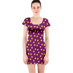 Star Christmas Red Yellow Short Sleeve Bodycon Dress
