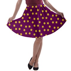 Star Christmas Red Yellow A-line Skater Skirt