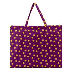 Star Christmas Red Yellow Zipper Large Tote Bag