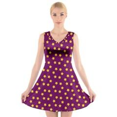 Star Christmas Red Yellow V Neck Sleeveless Skater Dress