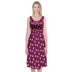 Star Christmas Red Yellow Midi Sleeveless Dress