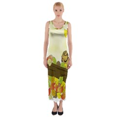 Squirrel Fitted Maxi Dress