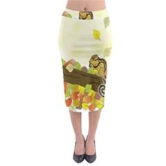 Squirrel Midi Pencil Skirt