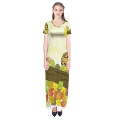 Squirrel Short Sleeve Maxi Dress