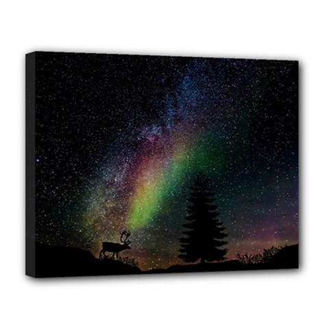 Starry Sky Galaxy Star Milky Way Canvas 14  x 11