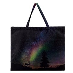 Starry Sky Galaxy Star Milky Way Zipper Large Tote Bag