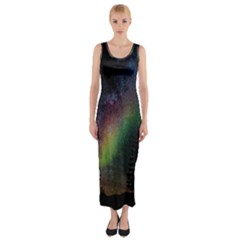 Starry Sky Galaxy Star Milky Way Fitted Maxi Dress