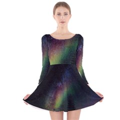 Starry Sky Galaxy Star Milky Way Long Sleeve Velvet Skater Dress