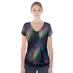 Starry Sky Galaxy Star Milky Way Short Sleeve Front Detail Top