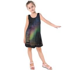Starry Sky Galaxy Star Milky Way Kids  Sleeveless Dress