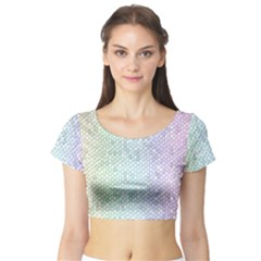 The Background Wallpaper Mosaic Short Sleeve Crop Top (Tight Fit)