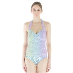 The Background Wallpaper Mosaic Halter Swimsuit
