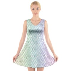 The Background Wallpaper Mosaic V Neck Sleeveless Skater Dress