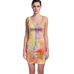 Watercolour Watercolor Paint Ink  Sleeveless Bodycon Dress